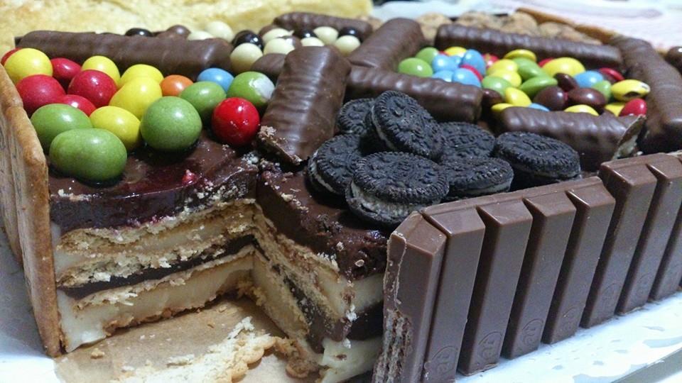 Tarta de galletas y choco-vainilla