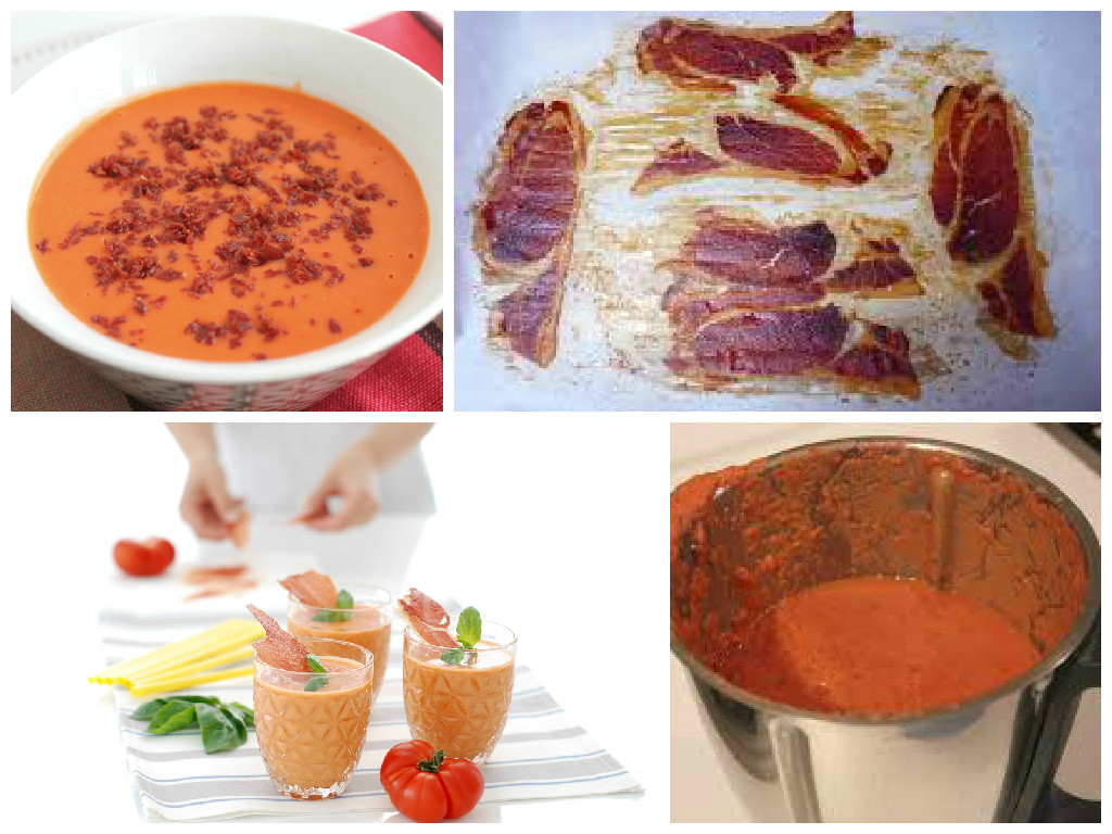Gazpacho andaluz con crujiente de jamón