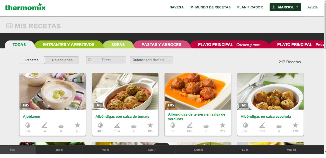 planificar menus en la plataforma oficial de recetas Thermomix®