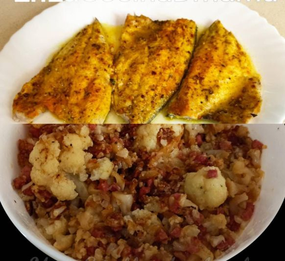 Menú saludable de Pescado con curry y naranja y coliflor salteada con jamón (Bajo en carbohidratos)