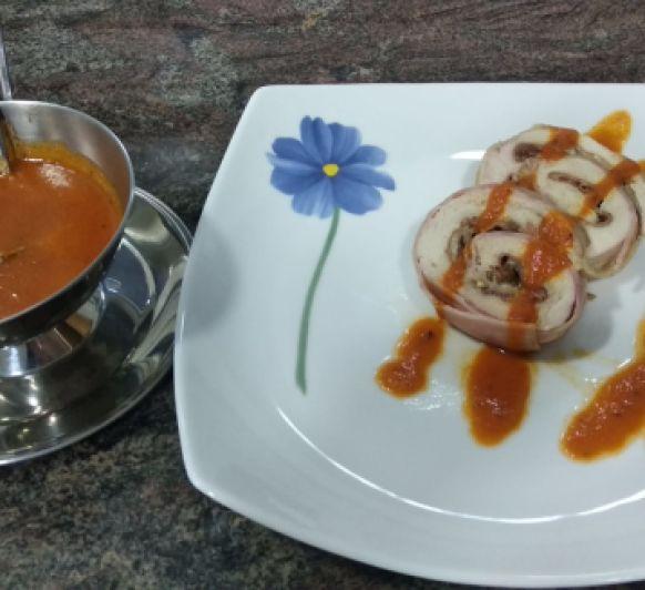 Rollo de pavo con salsa agridulce de Inma