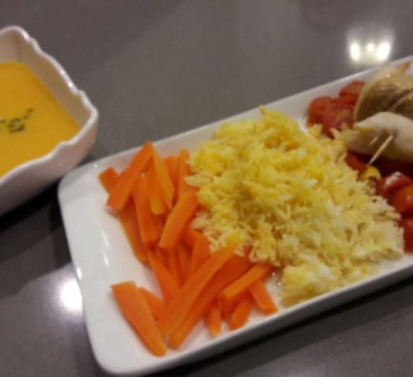 Sopa de calabaza. Pescado con arroz y verduras. Crumble de manzana y pera con Thermomix®