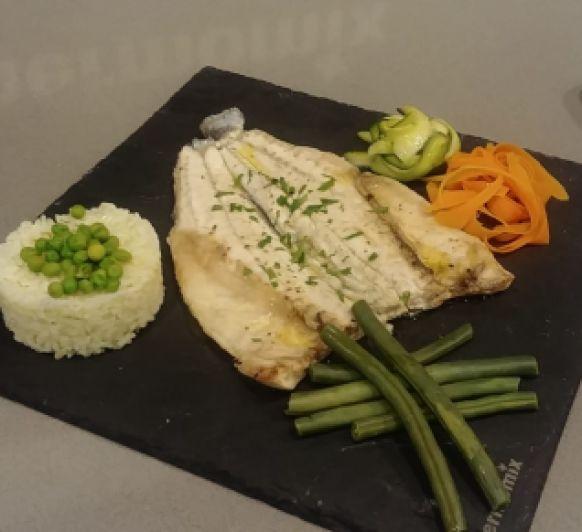 Menú: crema de champiñón, pescado con arroz y verduras