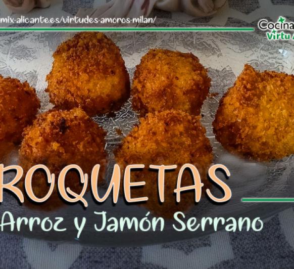 CROQUETAS DE ARROZ CON PARMESANO Y JAMÓN.